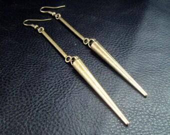 Long spike earrings, antique brass tone modern dangle earrings, statement minimalist shoulder dusters