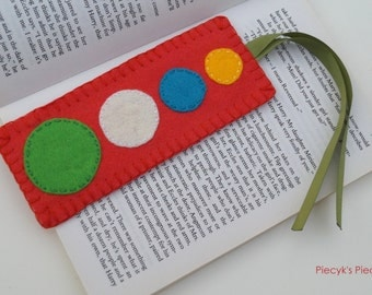 Carrot - Orange Felt Bookmark with Yellow Turquoise White and Green Circles OOAK