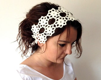 lace headband Bridal lace headband Hair Accessories, ivory cream Crochet Daisy Headband, Bridesmaid  Headband senoAccessory