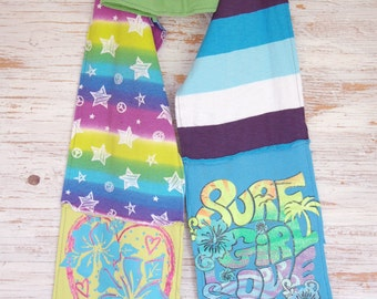 sale! 30% off! woman eco friendly jersey scarf, lime green and turquoise, surf, Hawaï beach, star, stripe summer