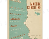 Makena Coastline, Maui - 12x18 Retro Hawaii Print