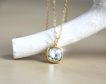 Aquamarine Pendant Necklace with Light Blue Swarovski Crystal - Gift for Her