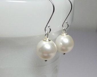 SET of 6 Pairs Swarovski White Pearl Drop Silver Earrings, Wedding Bridesmaid Bride Mom Sister Grandmother Birthday Jewelry Gift Simple