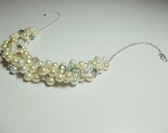 White Ivory Pearl and Crystal Cluster Necklace, Valentines Mothers Day Christmas Gift, Mom Sister Grandmother Birthday Jewelry, Cocktail