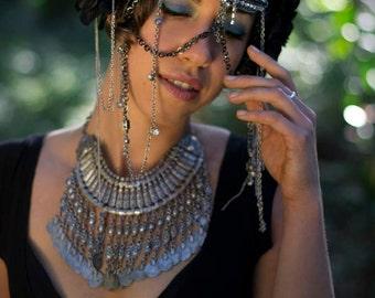 Black Dahlia Chain Headdress NO FEATHERS