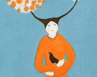 hexagon Illustration art print surreal blue orange woman portrait woman with a bird antlers colorful decor modern decor mothers day gift
