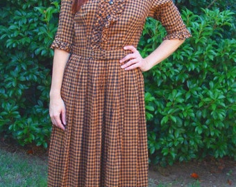 1960s Toni Todd Day Dress Gingham Black Brown Fit Flair Ruffle Front Bodice Womens Vintage Medium