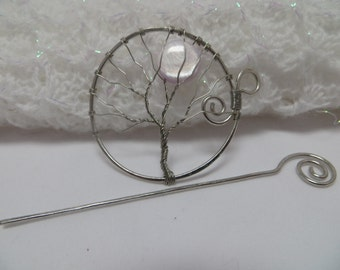 Silver Tree of Life Hair Pin, Silver Tree of Life Shawl Pin, Silver Wire Wrapped Tree With Pale Lavender Moon