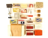 Vintage Instant Office Supply Collection of Tacks, Clips, Erasers, Tape, Index Cards (c.1950s) - Collectible Office Supplies, Photo Props