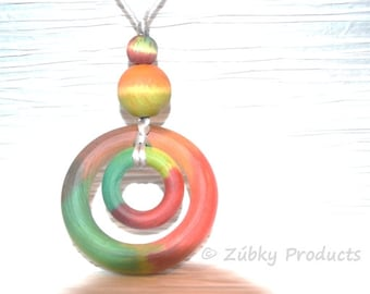 Double Ring Tie Dye Natural Wood Teething Necklace by Zúbky - Colorful Free Spirit Hippie Design - Nursing Necklace