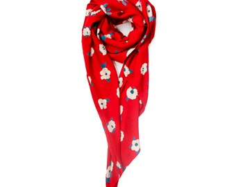 Modern chic floral scarf in red, white and blue