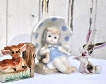 Pretty Blue and White Polka Dot Hummel girl figure holding umbrella blue and white Porcelain Dotty Kitsch Statue German Child