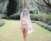Marie Ethereal Bridal Heirloom Wedding Silk Tulle & French Lace Veil