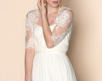 Roseline Bridal French Lace Tulle Bolero Cover Up Shrug In Off-White Pale Ivory
