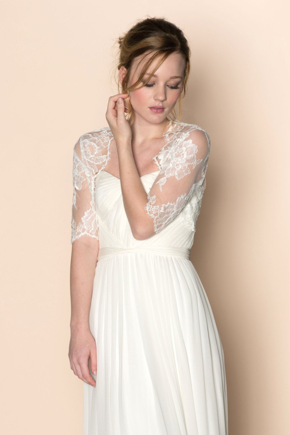 Roseline Bridal French Lace Tulle Bolero Cover Up Shrug In