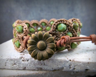 Bohemian Cuff Bracelet, Natural brown and green turquoise shades - Crochet Jewelry