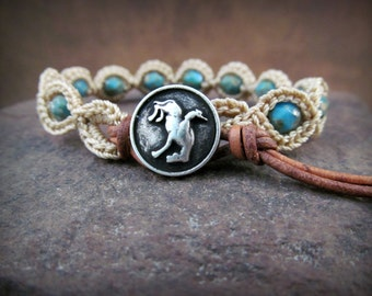 Rustic turquoiose crochet bracelet - Western Boho, Cowgirl, Country Chic