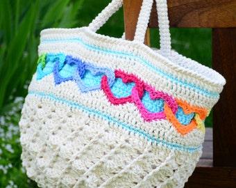 CROCHET PATTERN - Have a Heart Tote - a crochet heart tote pattern, crochet bag pattern, linked hearts purse pattern  - Instant PDF Download
