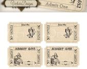 Alice in Wonderland editable Invitation Tickets printable images instant download digital collage sheet VD0404