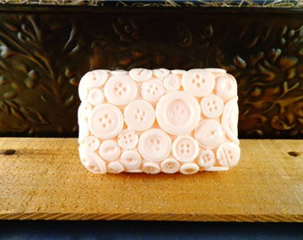 Button Soap: Decorative Button Bar Soap Looks Like Buttons on a Bar of Soap, You Choose Color & Scent