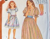 Girls May Day Dress Pattern Puff Sleeves Gathered Waist Elastic Neck Pullover w/ Ribbon Trim Simplicity 6041 sz 7