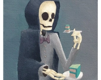 Death is Diverted by Cake. signed print of an original acrylic painting