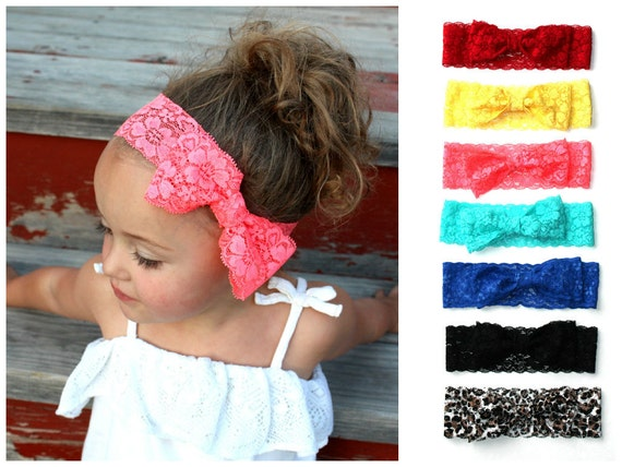 New XL LACE BOW Wide Lace Headband - Newborn headband, baby headband, toddler, child, women, spring Summer, neon