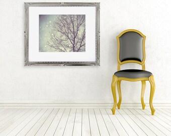 snow photograph tree photo nature photography fine art winter landscape purple green yellow nursery art wall decor
