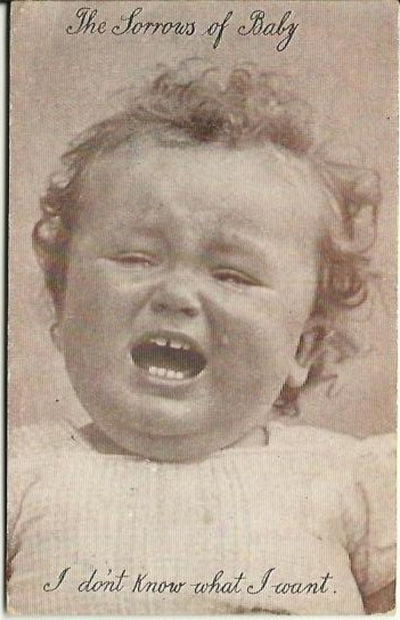 "Antique Postcard Early 1900's ""The Sorrows of Baby"" Sepia or Sienna Tones Curly Locks Crying Baby"