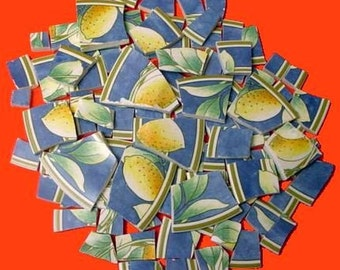 FREE SHIPPING 100 Lemons & Leaves Mosaic Tiles Tesserae Handmade Cut Nipped Dinnerware Plates Dishes Flowered Mosaics