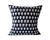 Skull Pillow. Black, Brown, White Decorative Pillow. White Skull Throw Pillow. Black White Skull Cushion.