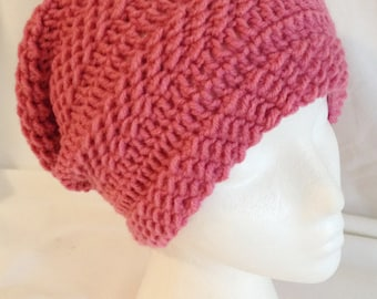"long slouch beanie textured soft and thick made to fit teen and adults color pink fit's 20-22"" inches"