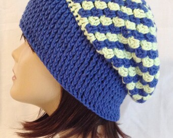 slouch beanie unisex fits teens and adults hand crochet 100% cotton head band 22 inches