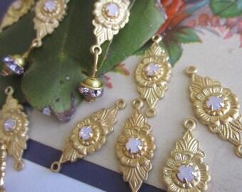 Vintage Floral Pink Opal  Connector Finding