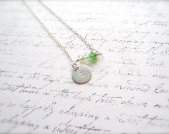 Initial Necklace, Customized Jewelry, Crystal Jewelry, Green Necklace, Swedish Jewelry, Made in Sweden, Scandinavian Jewelry Design