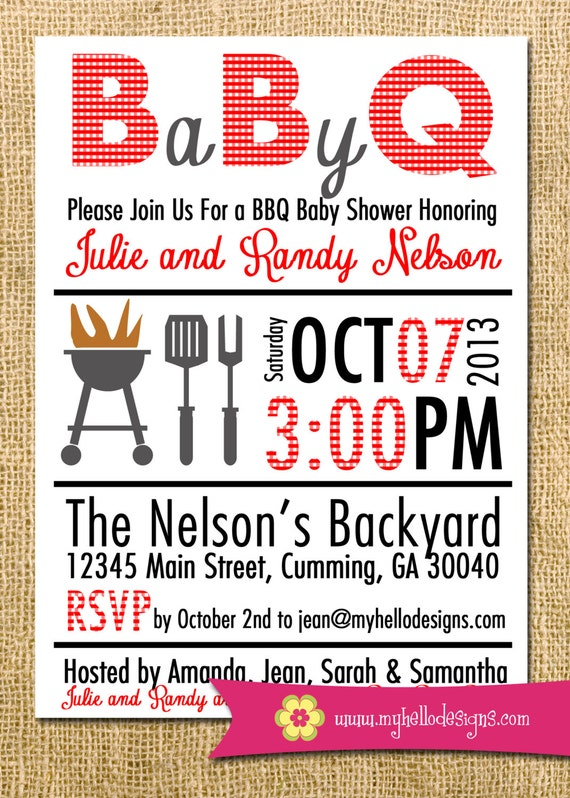 Printable BBQ Invitation Any Color Combination Backyard BBQ