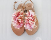 Bridal shoes - Handmade leather sandals decorated with pink and yellow textile flowers