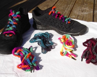 Colorful shoe laces shoelaces crochet neon red green teal purple unique shoe accessories handmade