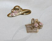 Lovely, Set of 2, Vintage Brooches, Victorian Hat and Basket with Ceramic Flowers