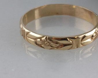 Skinny 14k SOLID gold Floral Pattern Ring- Floral Knuckle Midi Ring