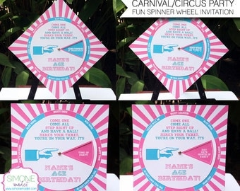 Pink Carnival Invitation Template - Circus Birthday Party - INSTANT DOWNLOAD with EDITABLE text - you personalize at home