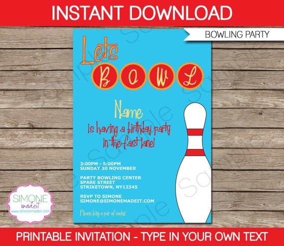 Bowling Invitation Template  Birthday Party  Instant Download