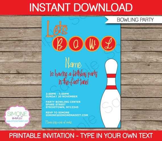 Bowling Invitation Template - Birthday Party - Instant Download