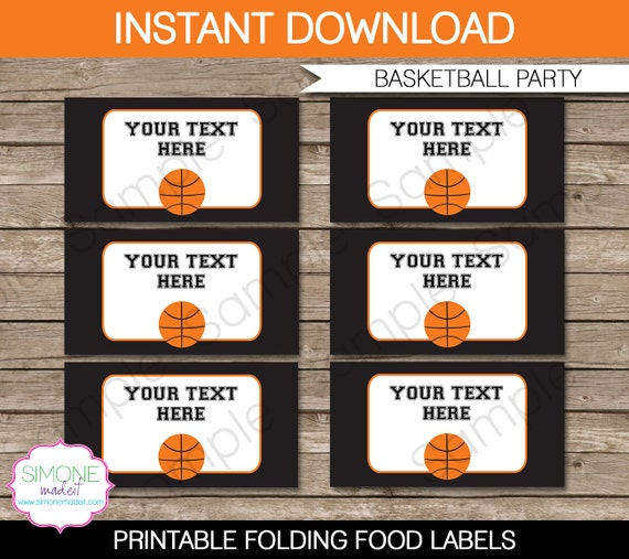Basketball Food Labels Buffet Tags Tent Cards By SIMONEmadeit