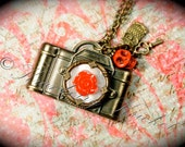 Repurposed Camera Necklace, Red Camera Necklace, Skull Necklace, Capture Life Necklace, Film Camera Necklace, Antique Camera Necklace