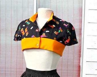 Rockabilly Bolero - Short Jacket - Black Orange with Antique Cars Pattern