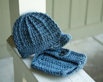 Ready-to-Ship Boy's Brimmed Beanie and Diaper Cover Photo Prop Set - Denim Blue Newborn size