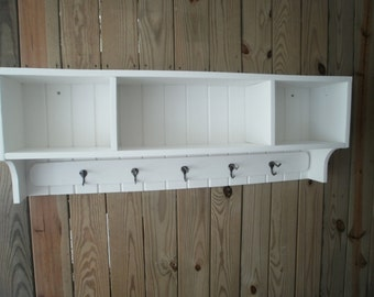 "48""primitive  coat rack  with cubby shelf"