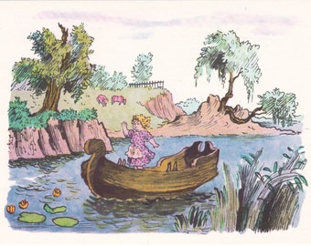 "Postcard Illustration by Konashevich for Hans Christian Andersen's ""The Snow Queen"" - 1965, Soviet Artist"