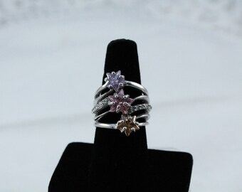 925 Sterling Silver 3 Tier Look With Colorful Stones Ring - Size 7